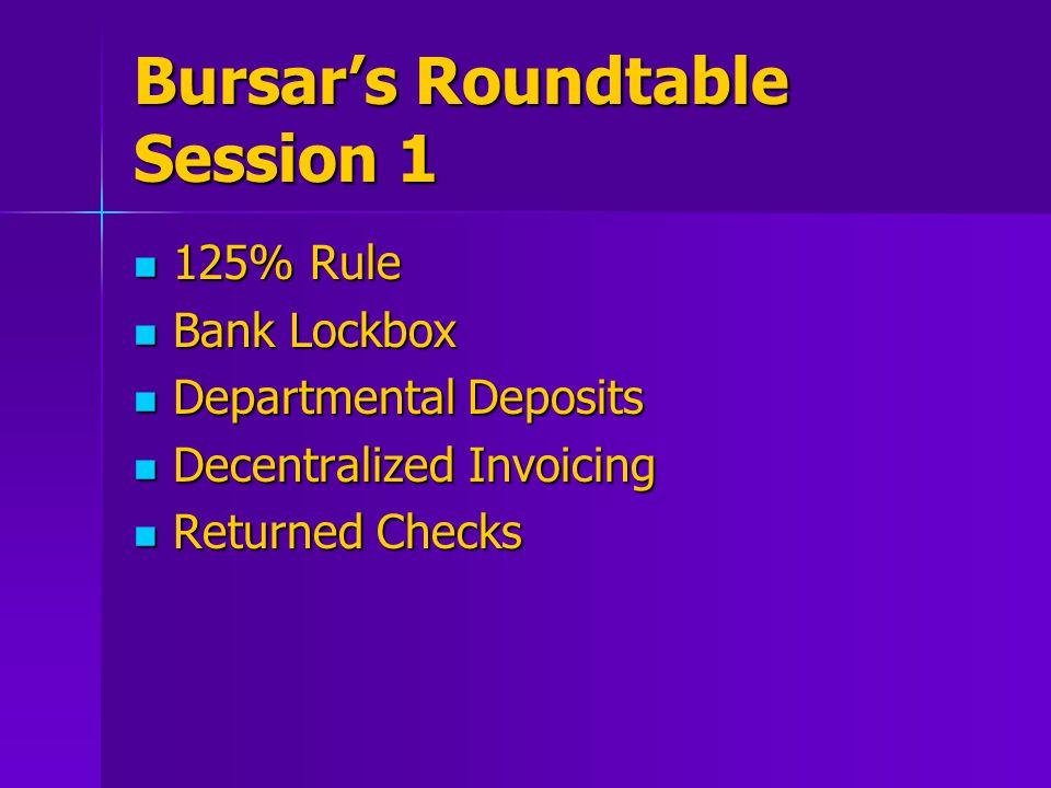 Bursar's Roundtable Session 1 125% Rule 125% Rule Bank Lockbox Bank Lockbox Departmental Deposits Departmental Deposits Decentralized Invoicing Decentralized Invoicing Returned Checks Returned Checks