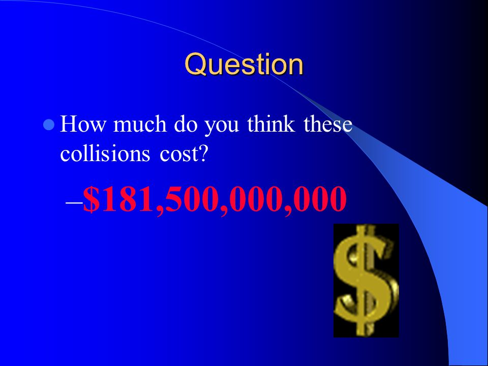 Question How much do you think these collisions cost? – $181,500,000,000