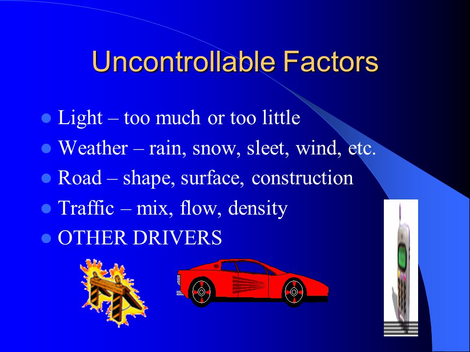 Uncontrollable Factors Light – too much or too little Weather – rain, snow, sleet, wind, etc. Road – shape, surface, construction Traffic – mix, flow,