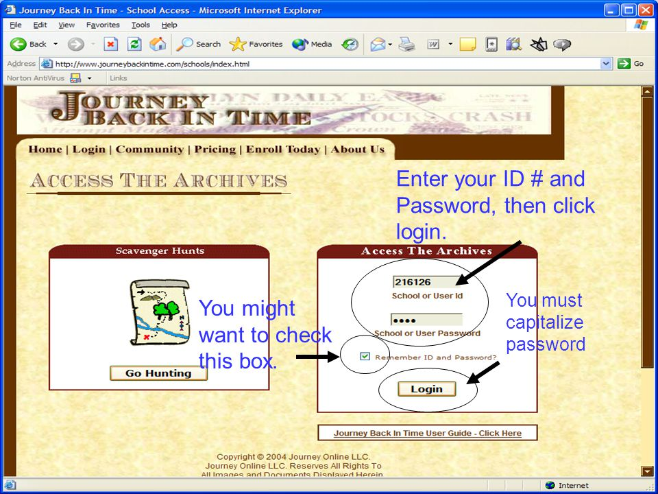 Enter your ID # and Password, then click login.