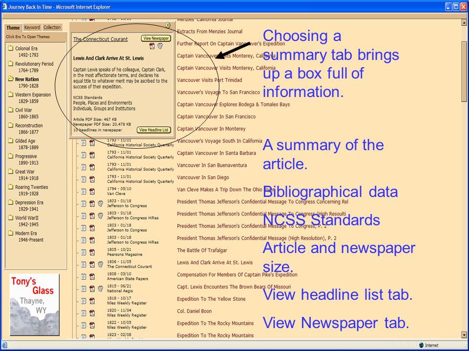 Choosing a summary tab brings up a box full of information.