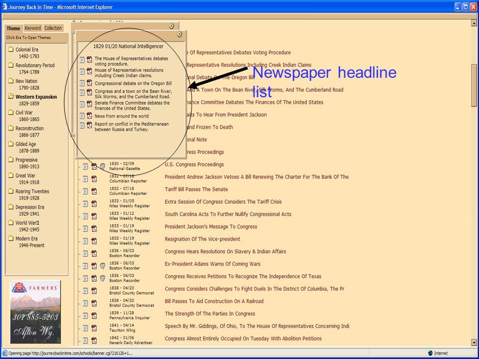 Newspaper headline list