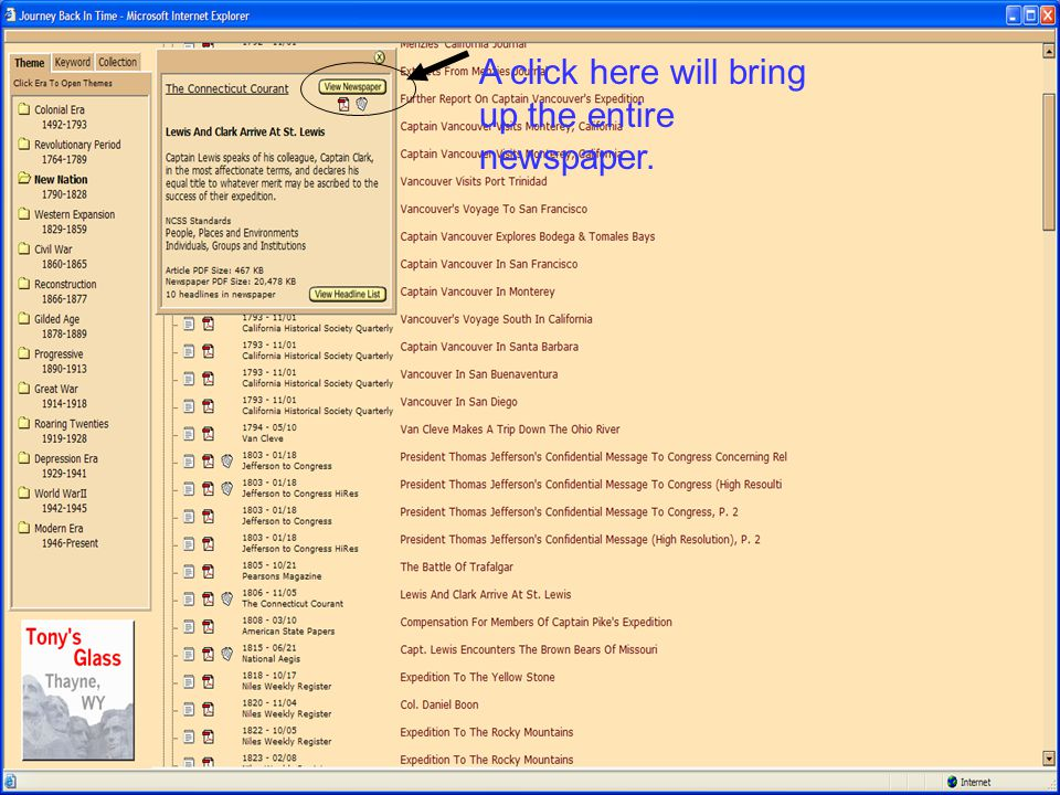 A click here will bring up the entire newspaper.