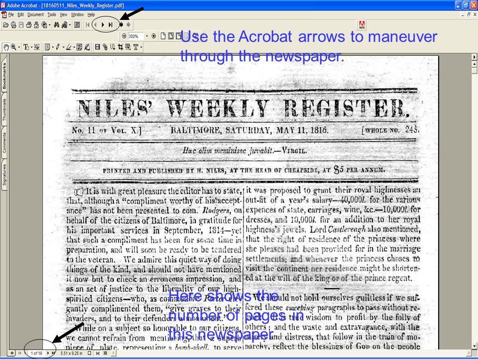 Use the Acrobat arrows to maneuver through the newspaper.