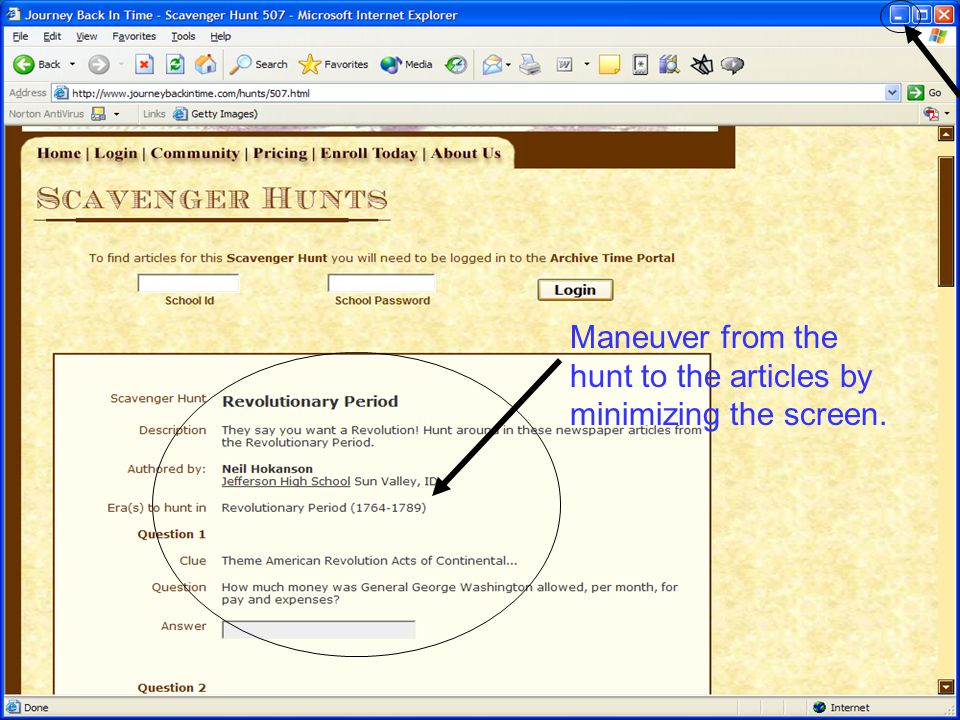 Maneuver from the hunt to the articles by minimizing the screen.