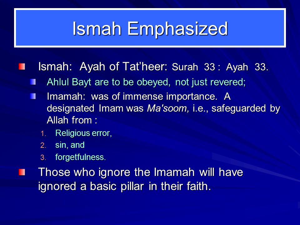 Ismah Emphasized Ismah: Ayah of Tat'heer: Surah 33 : Ayah 33.