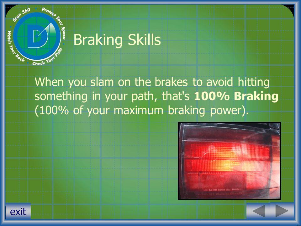 exit Braking Skills When you slam on the brakes to avoid hitting something in your path, that's 100% Braking (100% of your maximum braking power).