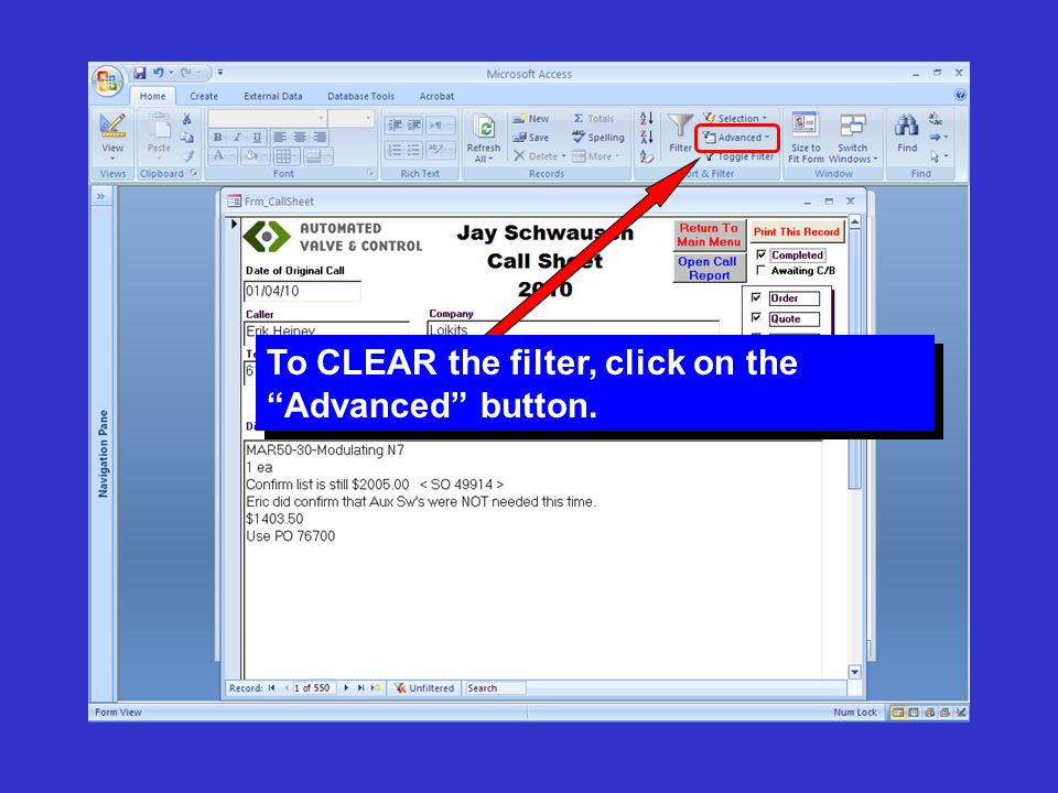 """To CLEAR the filter, click on the """"Advanced"""" button."""