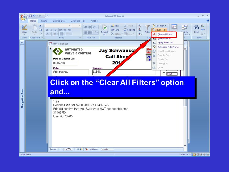 """Click on the """"Clear All Filters"""" option and..."""