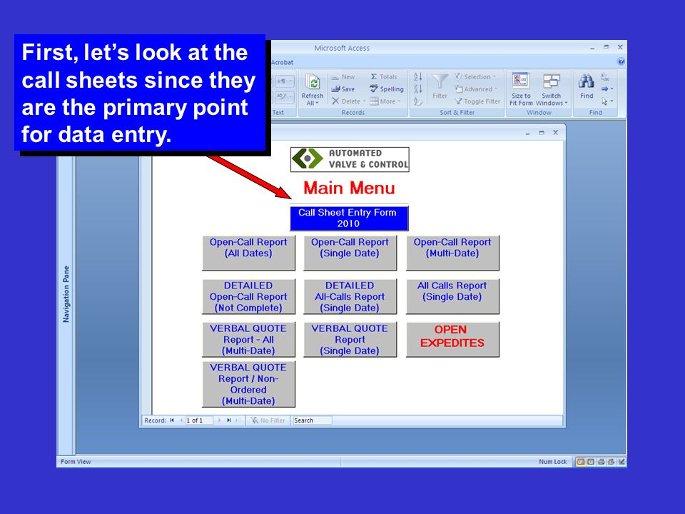 First, let's look at the call sheets since they are the primary point for data entry.