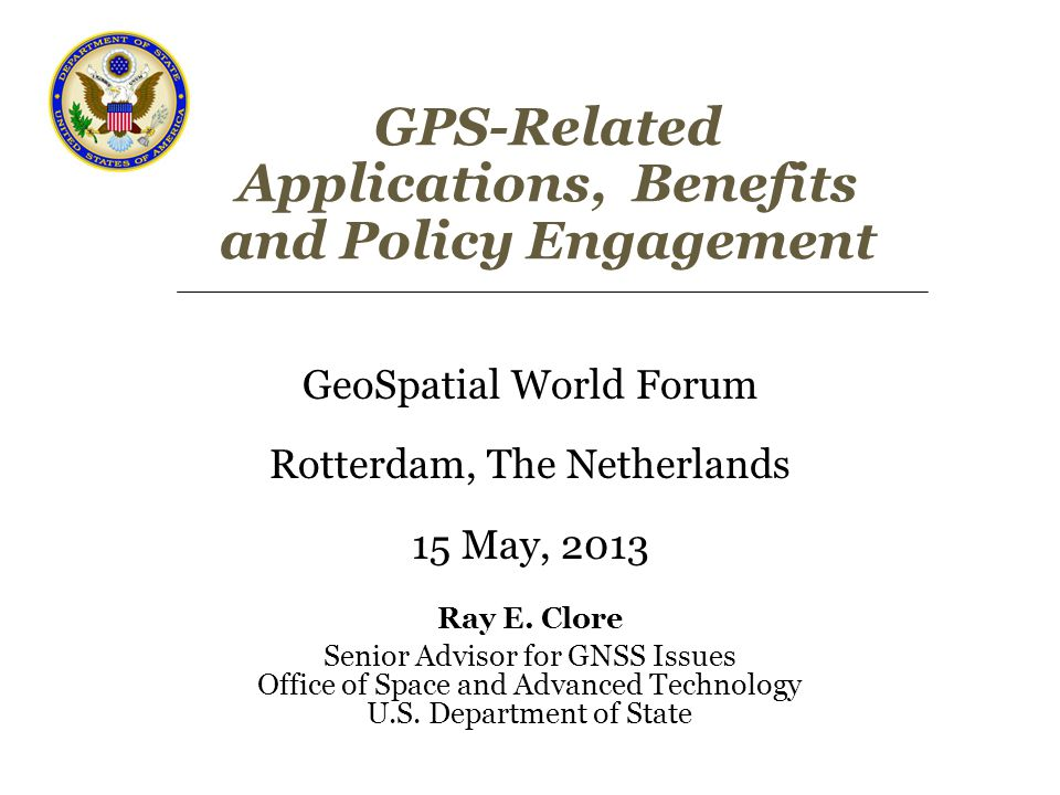 Overview GPS Applications Some Economic Benefits from GPS U.S.