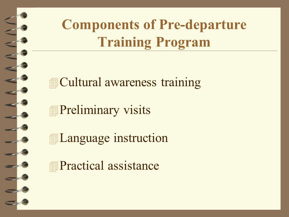Components of Pre-departure Training Program 4 Cultural awareness training 4 Preliminary visits 4 Language instruction 4 Practical assistance