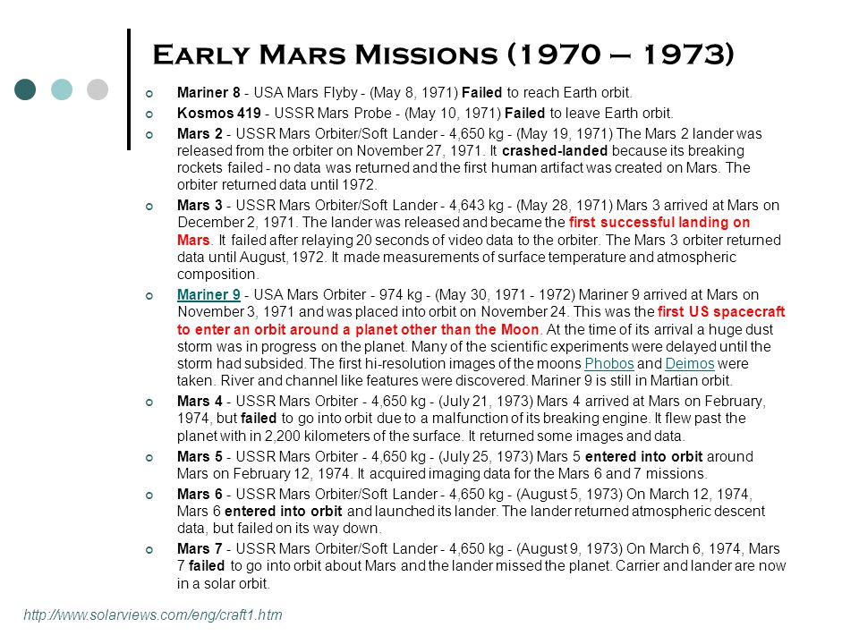 Early Mars Missions (1970 – 1973) Mariner 8 - USA Mars Flyby - (May 8, 1971) Failed to reach Earth orbit. Kosmos 419 - USSR Mars Probe - (May 10, 1971