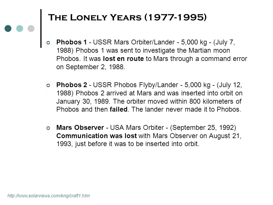 The Lonely Years (1977-1995) Phobos 1 - USSR Mars Orbiter/Lander - 5,000 kg - (July 7, 1988) Phobos 1 was sent to investigate the Martian moon Phobos.