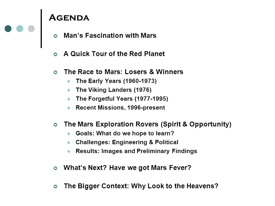 Agenda Man's Fascination with Mars A Quick Tour of the Red Planet The Race to Mars: Losers & Winners The Early Years (1960-1973) The Viking Landers (1
