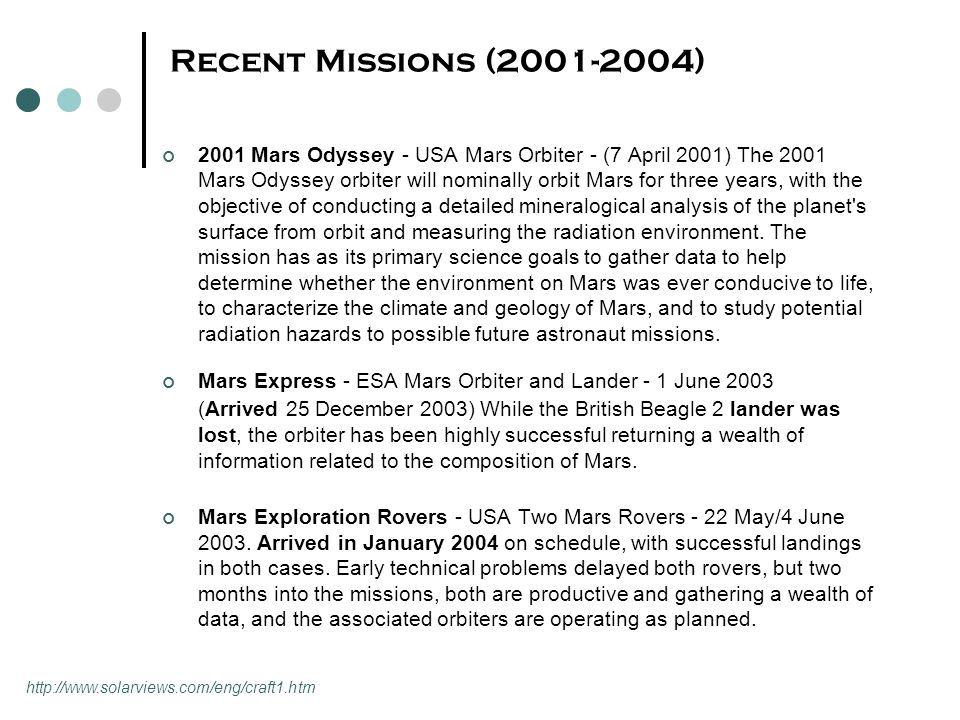 Recent Missions (2001-2004) 2001 Mars Odyssey - USA Mars Orbiter - (7 April 2001) The 2001 Mars Odyssey orbiter will nominally orbit Mars for three years, with the objective of conducting a detailed mineralogical analysis of the planet s surface from orbit and measuring the radiation environment.
