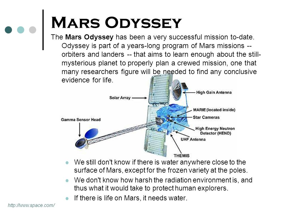Mars Odyssey The Mars Odyssey has been a very successful mission to-date. Odyssey is part of a years-long program of Mars missions -- orbiters and lan