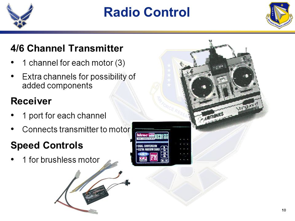 10 Radio Control 4/6 Channel Transmitter 1 channel for each motor (3) Extra channels for possibility of added components Receiver 1 port for each channel Connects transmitter to motor Speed Controls 1 for brushless motor