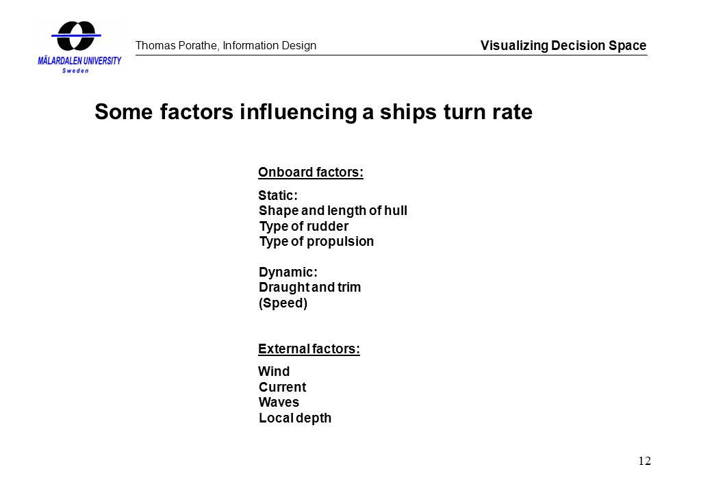 Thomas Porathe, Information Design Visualizing Decision Space 12 Some factors influencing a ships turn rate Onboard factors: Static: Shape and length of hull Type of rudder Type of propulsion Dynamic: Draught and trim (Speed) External factors: Wind Current Waves Local depth