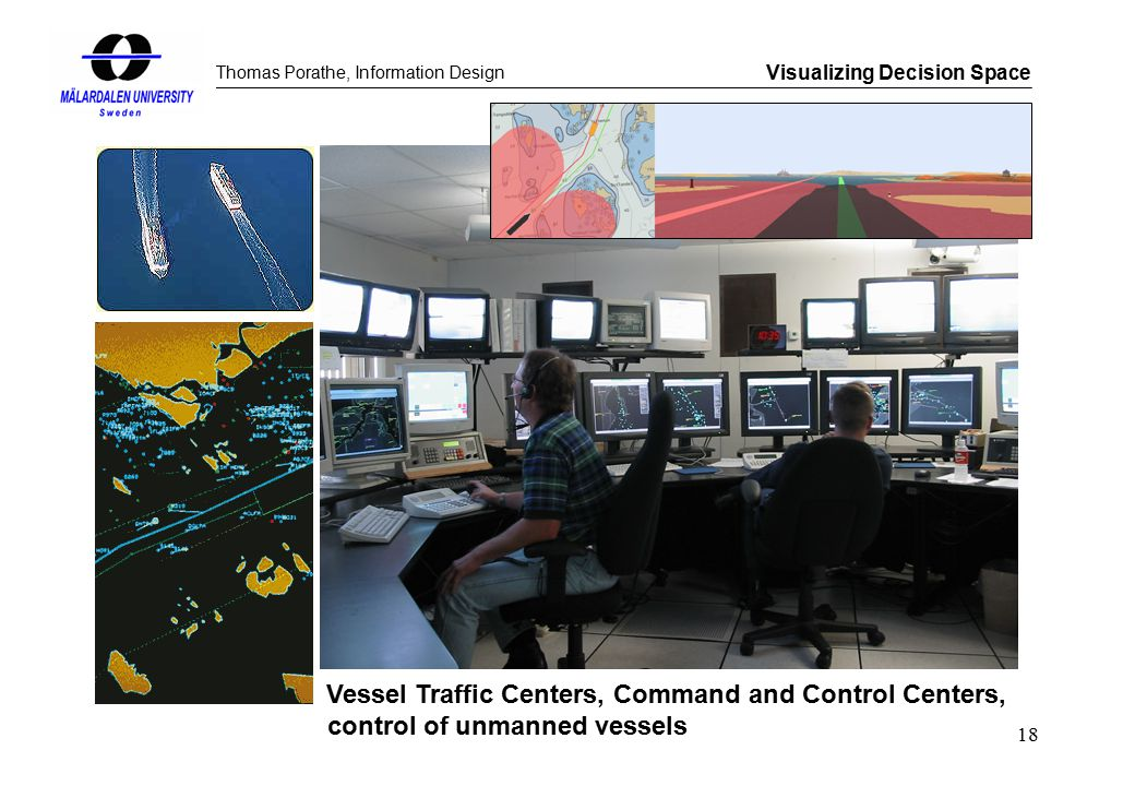 Thomas Porathe, Information Design Visualizing Decision Space 18 Vessel Traffic Centers, Command and Control Centers, control of unmanned vessels