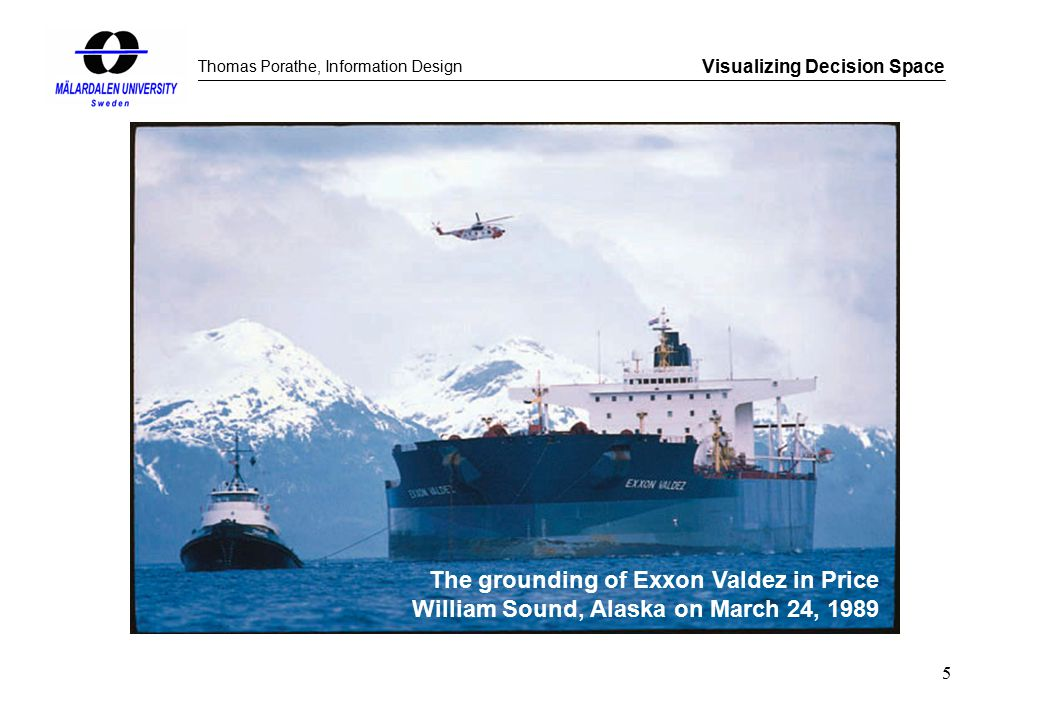 Thomas Porathe, Information Design Visualizing Decision Space 5 The grounding of Exxon Valdez in Price William Sound, Alaska on March 24, 1989