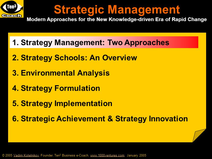 Mastering Your Enterprise Strategy The Three Hierarchical Levels of Strategy Corporate Strategy Business you should be in Business Strategy Tactics to beat the competition Functional Strategy Operational methods to implement the tactics Enterprise strategy is concerned with the match between your company's internal capabilities and its external environment Strategy is a set of analytic techniques for understanding and influencing your company's position in the market place More information at 1000ventures.com: Enterprise Strategy Enterprise Strategy
