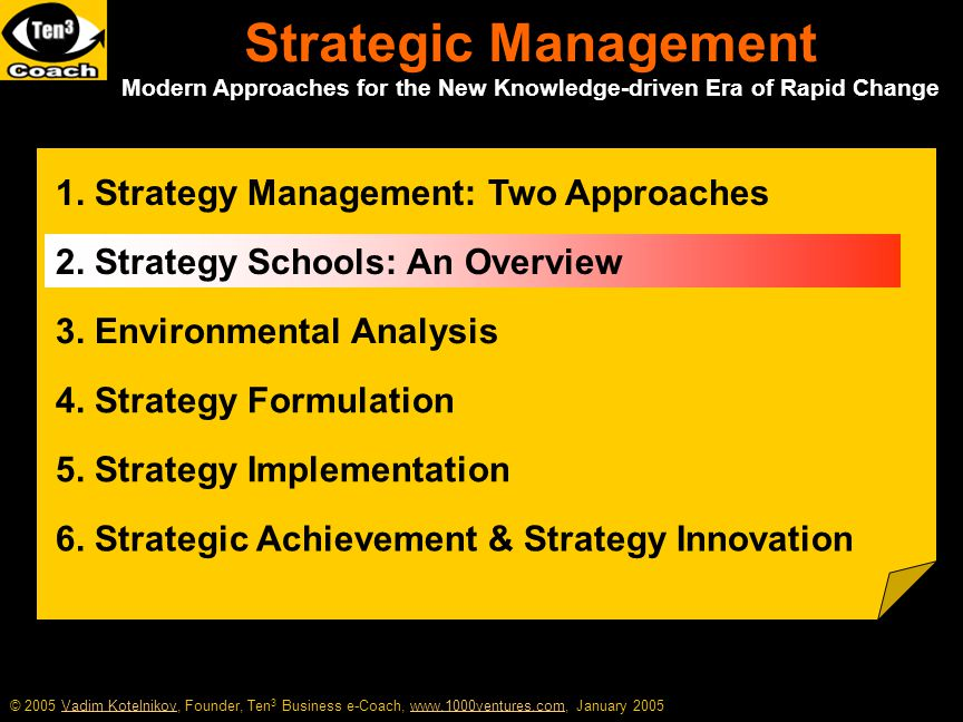 Strategic Management Modern Approaches for the New Knowledge-driven Era of Rapid Change 1. Strategy Management: Two Approaches 2. Strategy Schools: An