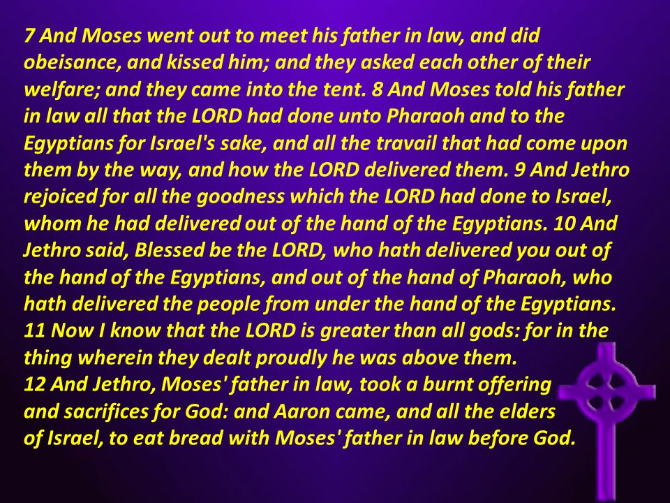 7 And Moses went out to meet his father in law, and did obeisance, and kissed him; and they asked each other of their welfare; and they came into the