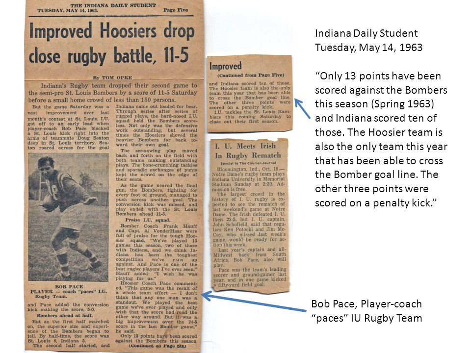 Indiana Daily Student Tuesday, May 14, 1963 Only 13 points have been scored against the Bombers this season (Spring 1963) and Indiana scored ten of those.
