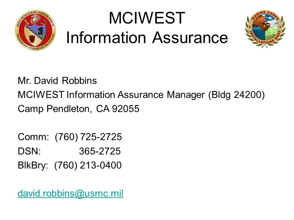 MCIWEST Information Assurance Mr.