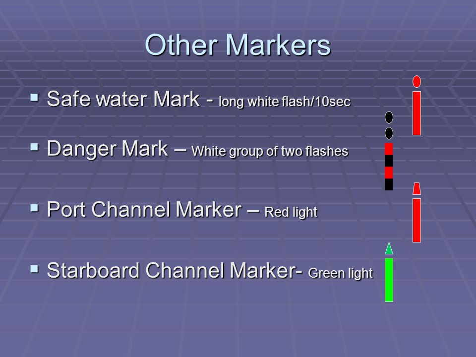 Other Markers  Safe water Mark - long white flash/10sec  Danger Mark – White group of two flashes  Port Channel Marker – Red light  Starboard Channel Marker- Green light