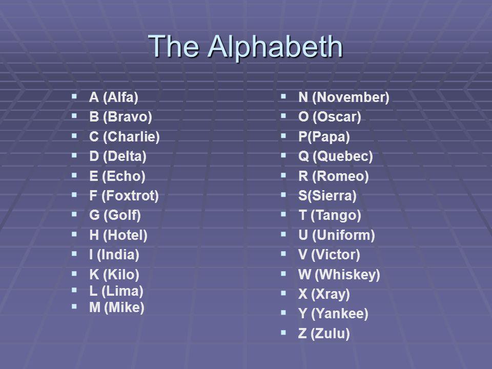 The Alphabeth   A (Alfa)   B (Bravo)   C (Charlie)   D (Delta)   E (Echo)   F (Foxtrot)   G (Golf)   H (Hotel)   I (India)   K (Kilo)   L (Lima)   M (Mike)  N (November)  O (Oscar)  P(Papa)  Q (Quebec)  R (Romeo)  S(Sierra)  T (Tango)  U (Uniform)  V (Victor)  W (Whiskey)  X (Xray)  Y (Yankee)  Z (Zulu)