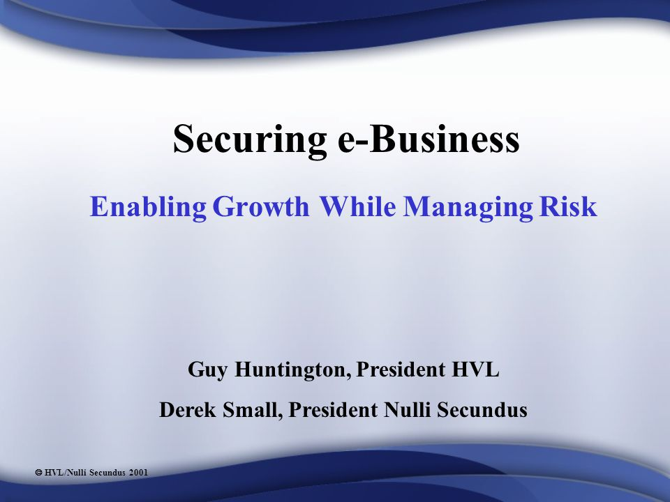  HVL/Nulli Secundus 2001 Securing e-Business Enabling Growth While Managing Risk Guy Huntington, President HVL Derek Small, President Nulli Secundus