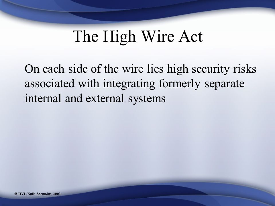  HVL/Nulli Secundus 2001 The High Wire Act On each side of the wire lies high security risks associated with integrating formerly separate internal and external systems