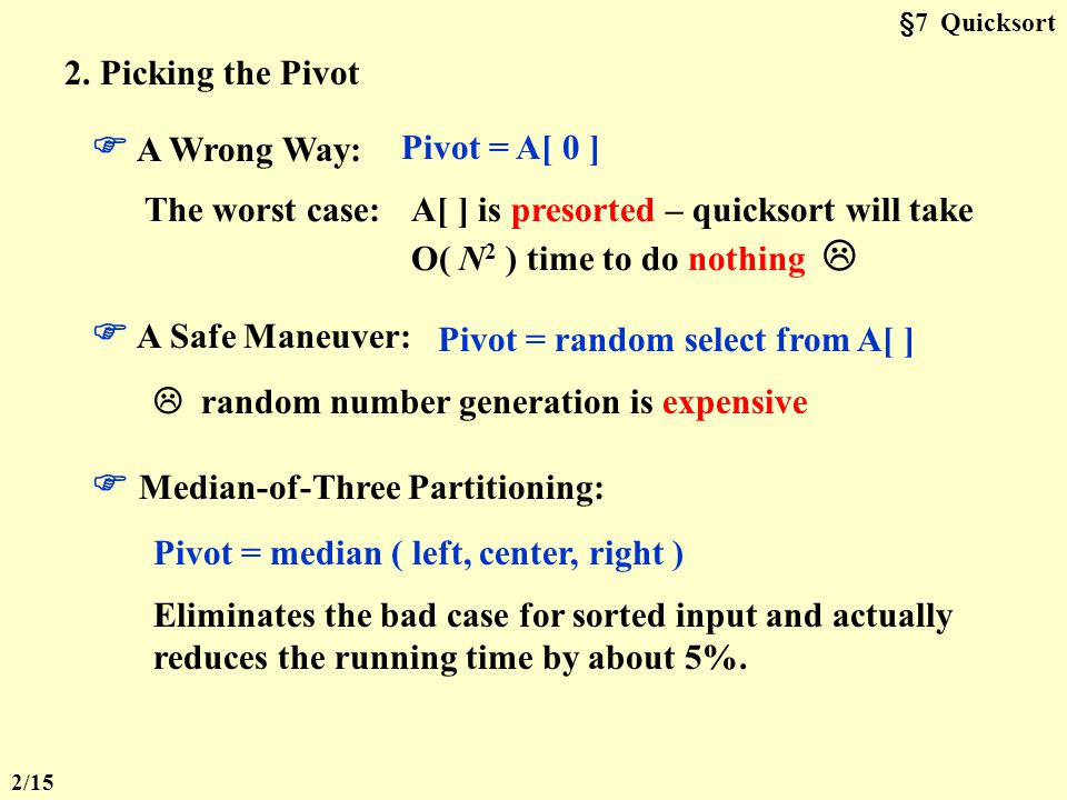 §7 Quicksort -- the fastest known sorting algorithm in practice 1.