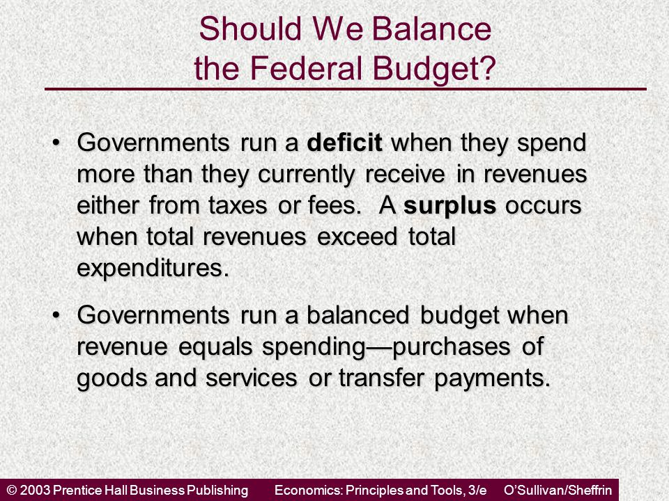 © 2003 Prentice Hall Business PublishingEconomics: Principles and Tools, 3/e O'Sullivan/Sheffrin Should We Balance the Federal Budget? Governments run
