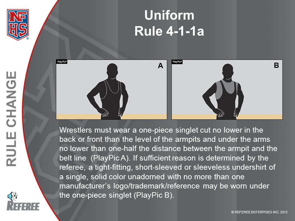 © REFEREE ENTERPISES INC. 2012 RULE CHANGE Uniform Rule 4-1-1a Wrestlers must wear a one-piece singlet cut no lower in the back or front than the leve