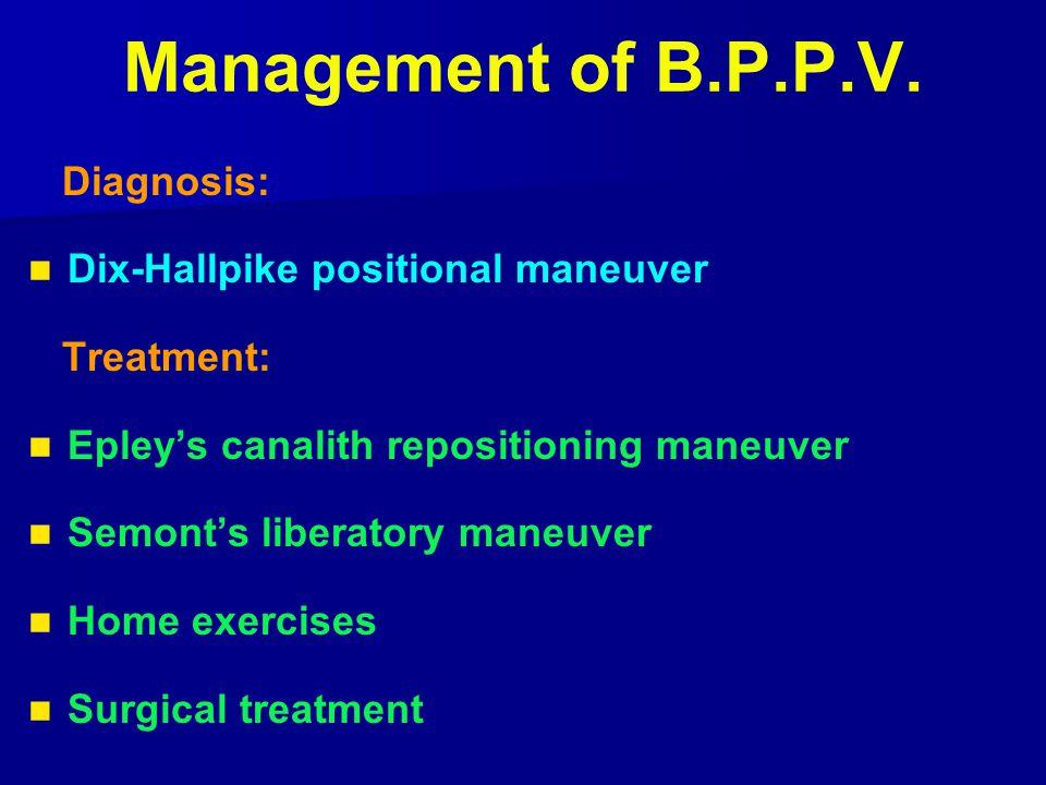 Management of B.P.P.V. Diagnosis: Dix-Hallpike positional maneuver Treatment: Epley's canalith repositioning maneuver Semont's liberatory maneuver Hom