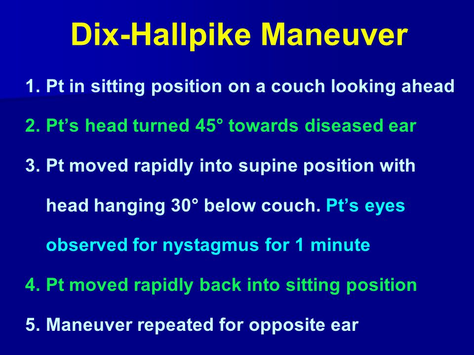 Dix-Hallpike Maneuver 1.Pt in sitting position on a couch looking ahead 2.