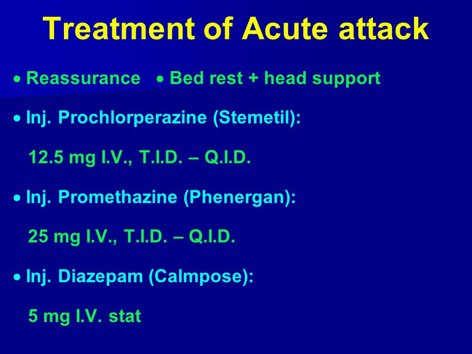 Treatment of Acute attack  Reassurance  Bed rest + head support  Inj.