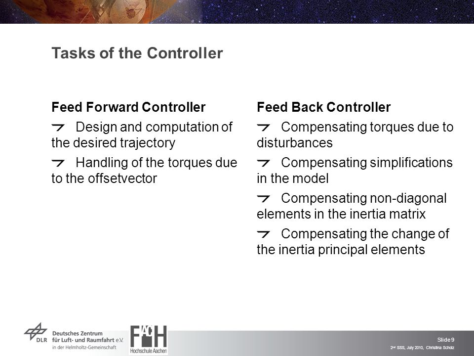 Slide 9 2 nd SSS, July 2010, Christina Scholz Tasks of the Controller Feed Forward Controller Design and computation of the desired trajectory Handling of the torques due to the offsetvector Feed Back Controller Compensating torques due to disturbances Compensating simplifications in the model Compensating non-diagonal elements in the inertia matrix Compensating the change of the inertia principal elements