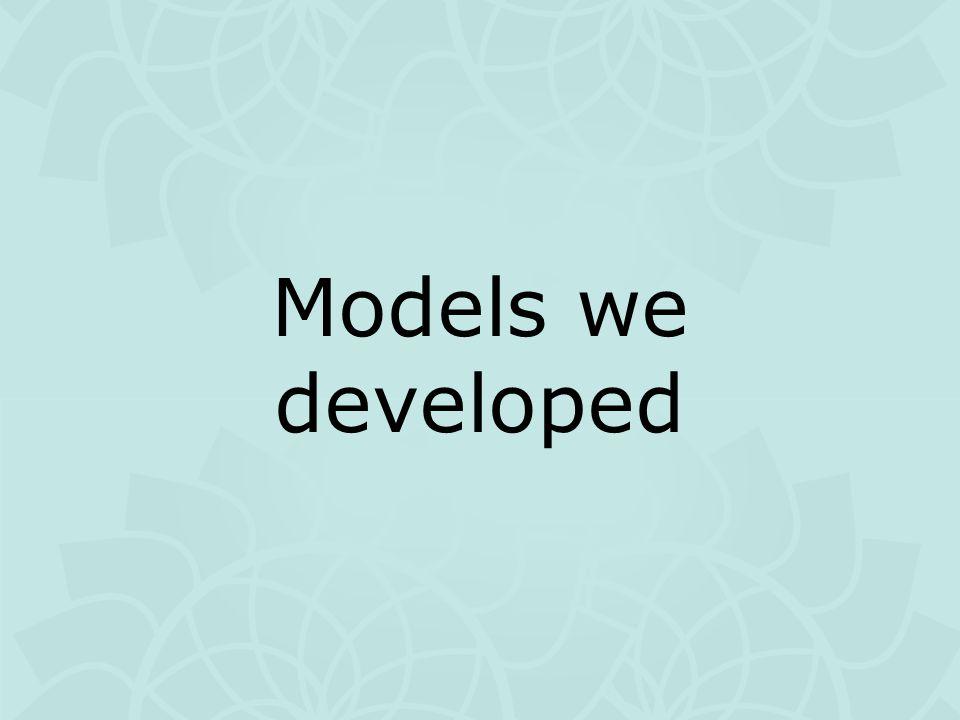 Models we developed