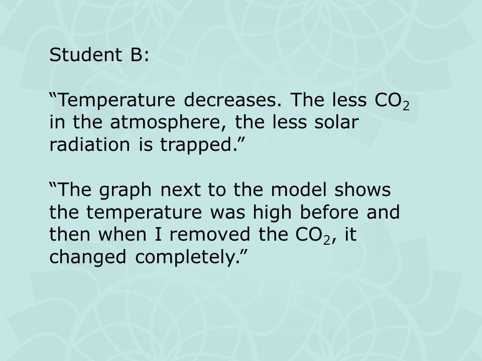 Student B: Temperature decreases.