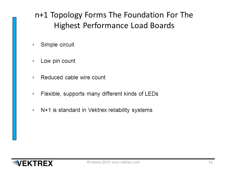 n+1 Topology Forms The Foundation For The Highest Performance Load Boards Simple circuit Low pin count Reduced cable wire count Flexible, supports many different kinds of LEDs N+1 is standard in Vektrex reliability systems ©Vektrex 2014; www.vektrex.com 14