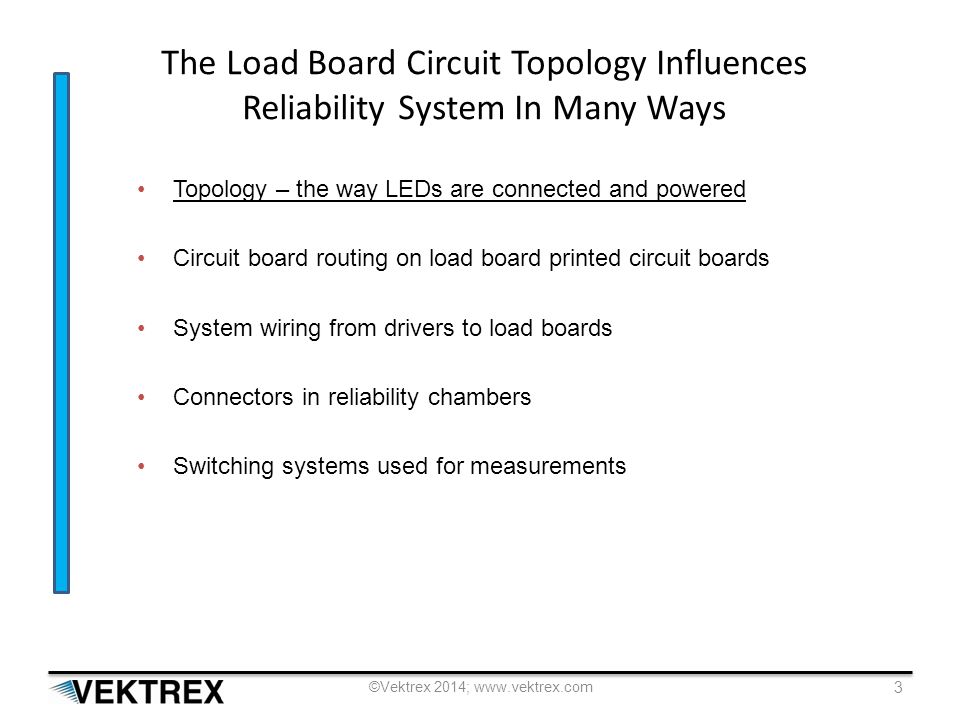 The Load Board Circuit Topology Influences Reliability System In Many Ways Topology – the way LEDs are connected and powered Circuit board routing on load board printed circuit boards System wiring from drivers to load boards Connectors in reliability chambers Switching systems used for measurements ©Vektrex 2014; www.vektrex.com 3