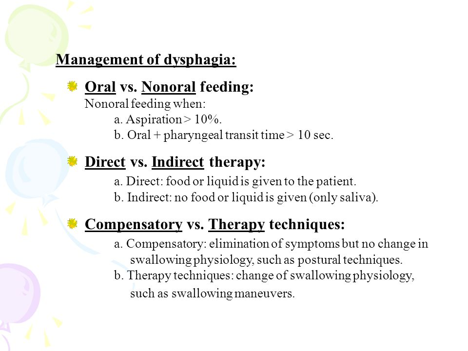 Management of dysphagia: Oral vs. Nonoral feeding: Nonoral feeding when: a.