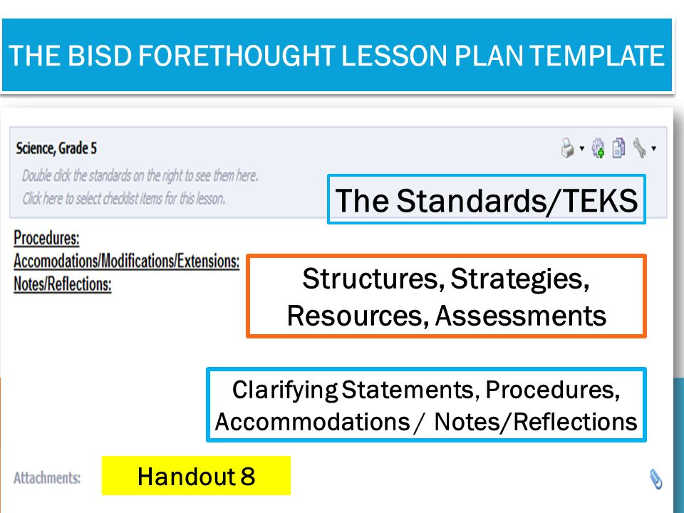 THE BISD FORETHOUGHT LESSON PLAN TEMPLATE Clarifying Statements, Procedures, Accommodations / Notes/Reflections The Standards/TEKS Structures, Strateg