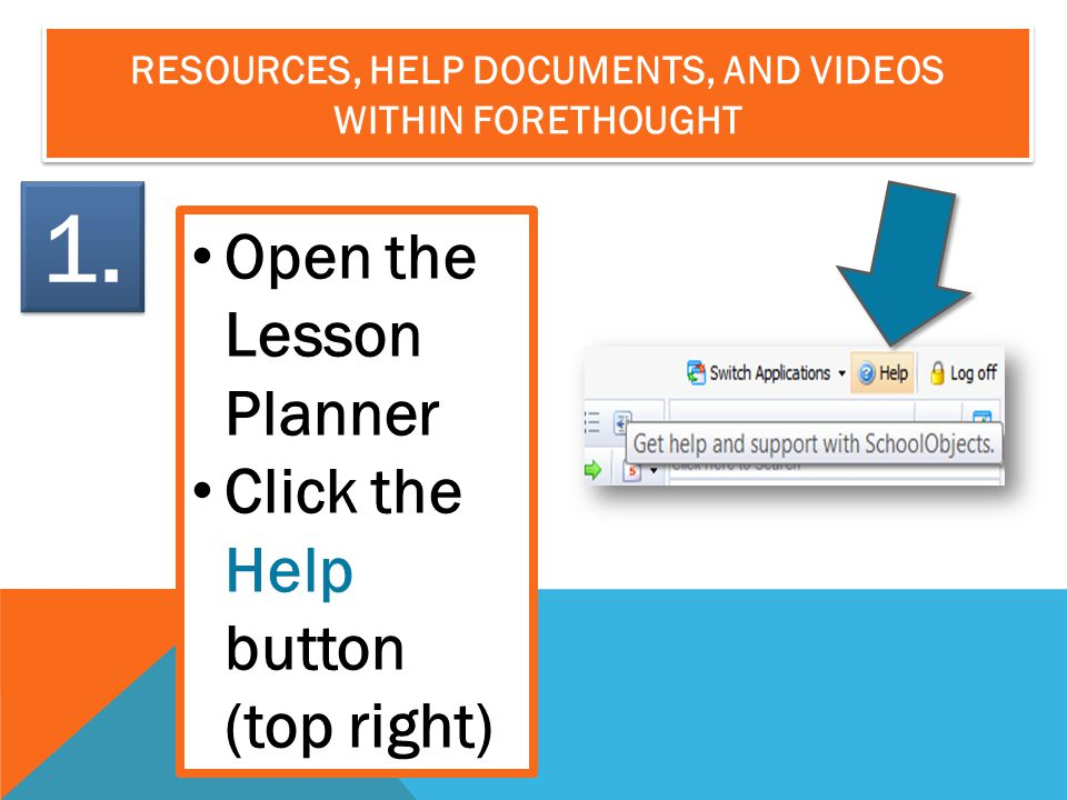RESOURCES, HELP DOCUMENTS, AND VIDEOS WITHIN FORETHOUGHT Open the Lesson Planner Click the Help button (top right) 1.