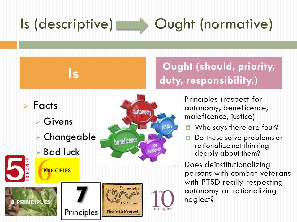 Is (descriptive) Ought (normative)  Facts  Givens  Changeables  Bad luck  Justice  Fairness (all comparable cases get treated the same)  Compensatory (most disadvantage get treated more to equalize opportunities)  Retributive (distribute as compensation for past injustice)  E.g., Negligence lawsuits or outreach to poor neighborhoods Is Ought (should, priority, duty, responsibility,)
