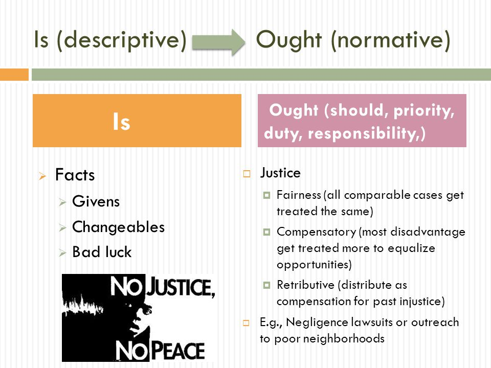 Is (descriptive) Ought (normative)  Facts  Givens  Changeables  Bad luck  Justice  Fairness (all comparable cases get treated the same)  Compensatory (most disadvantage get treated more to equalize opportunities)  Retributive (distribute as compensation for past injustice)  E.g., Negligence lawsuits or outreach to poor neighborhoods Is Ought (should, priority, duty, responsibility,)